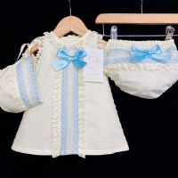 *Baby Girl Spanish Cream A Line Lace Dress Blue Detail 3 Piece
